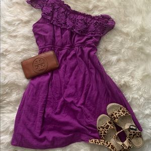 One shoulder dress with fun lace ruffle!